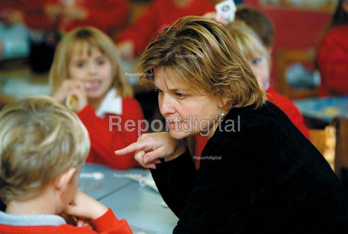 Maths lesson, class helper teaching at a Primary School - John Harris - 1999-10-18