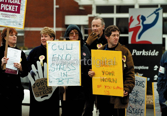BT call centre CWU pickets BT Parkside Coventry. Strike against stressful working conditions - John Harris - 1999-11-22