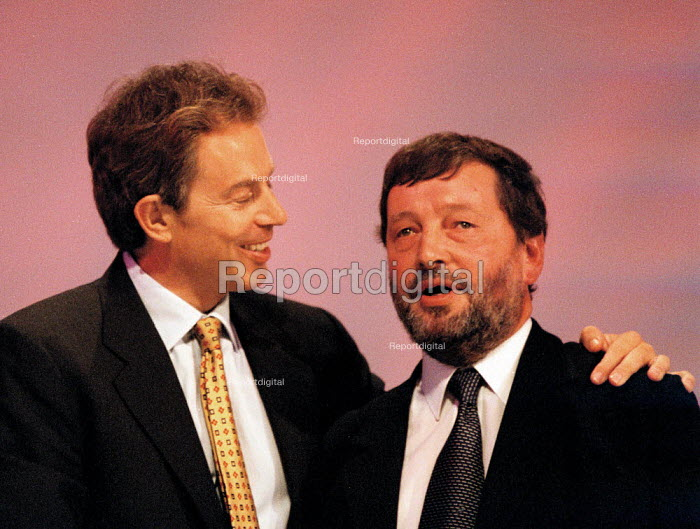 Tony Blair MP Prime Minister congratulating David Blunkett, Labour Party Conference 1999 - John Harris - 1999-09-29