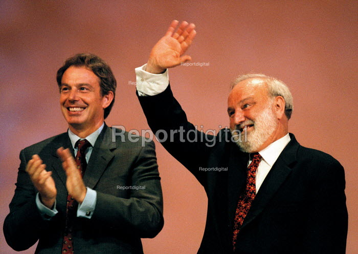 Prime Minister Tony Blair MP applauding Frank Dobson MP at the end of his speech Labour Party Conference 1999 - John Harris - 1999-09-30