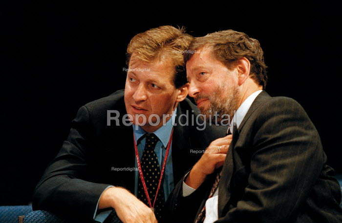 Alastair Campbell press Sec. talking to David Blunkett MP Minister of State for Education and Employment Labour Party Conference 1999 - John Harris - 1999-09-28
