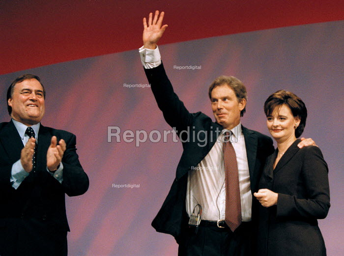 John Prescott MP Prime Minister Tony Blair MP and Cherie Blairat the end of leaders speech Labour Party Conference 1999 - John Harris - 1999-09-28