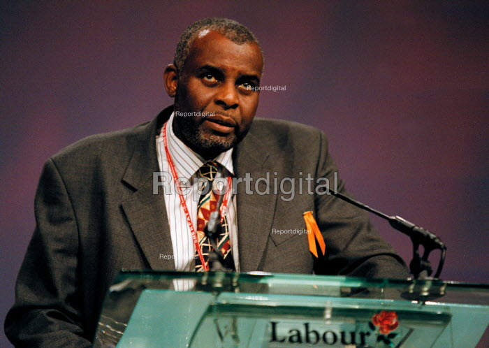 Neville Lawrence, father of Stephen Lawrence killed by racists, speaking at the Labour Party Conference 1999 - John Harris - 1999-09-30