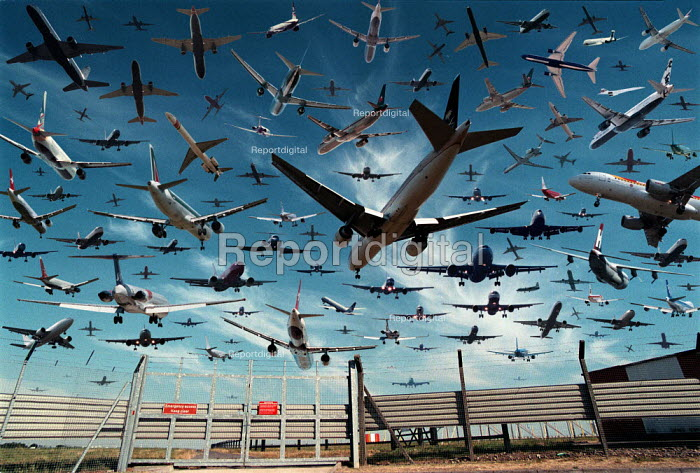 Aircraft landing and taking off from Heathrow airport in 1 hour. Photomontage - John Harris - 1999-08-18