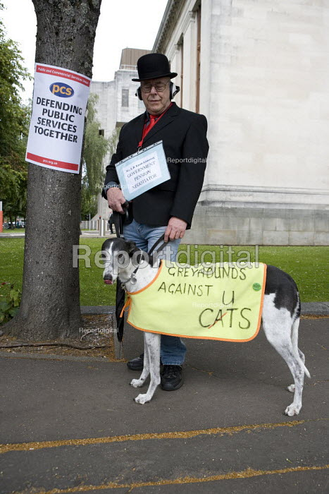 Unison member Dennis English with his grayhound Rosie. Strike for fair Pensions, Cardiff, Wales - John Harris - 2011-06-30