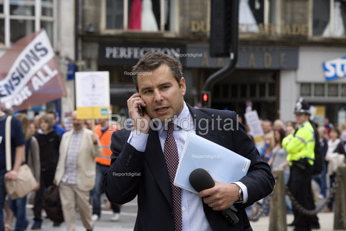TV journalist, Strike for fair Pensions, Cardiff, Wales - John Harris - 2011-06-30