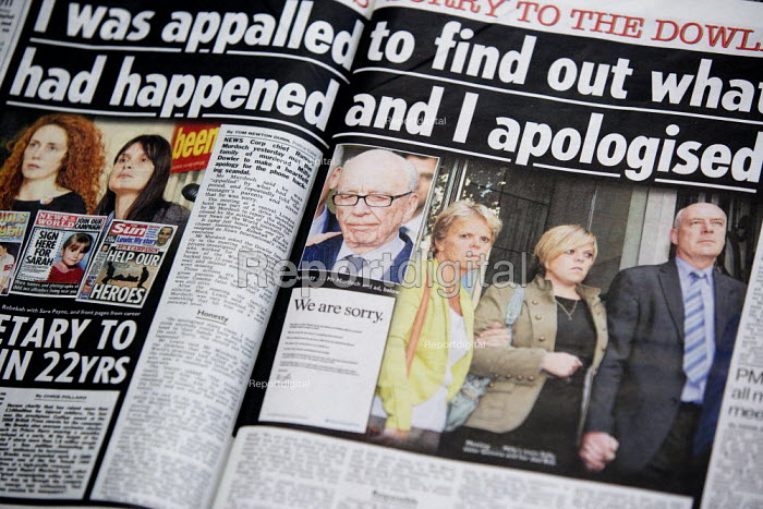 Report of the Murdoch visit to the family of murdered teenager Milly Dowler. A full-page advert in The Sun newspaper bearing the signature of Rupert Murdoch and declaring: We are sorry. Hackgate. The advert, signed by the News Corp chairman and chief executive, apology for the phone-hacking scandal - John Harris - 2010-01-27