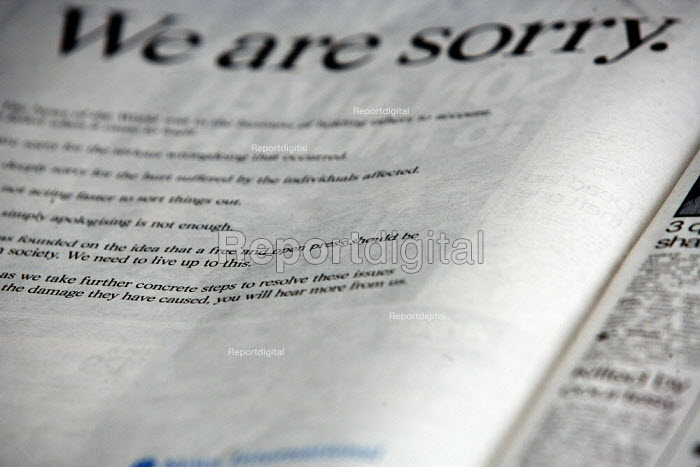 A full-page advert in The Sun newspaper bearing the signature of Rupert Murdoch and declaring: We are sorry. Hackgate. The advert, signed by the News Corp chairman and chief executive, apology for the phone-hacking scandal - John Harris - 2010-01-27