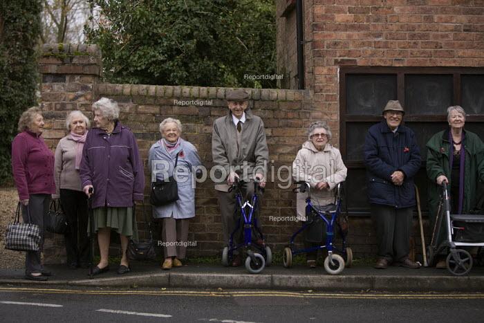 Pensioners waiting at a bus stop, Madeley, Telford - John Harris - 2012-11-13