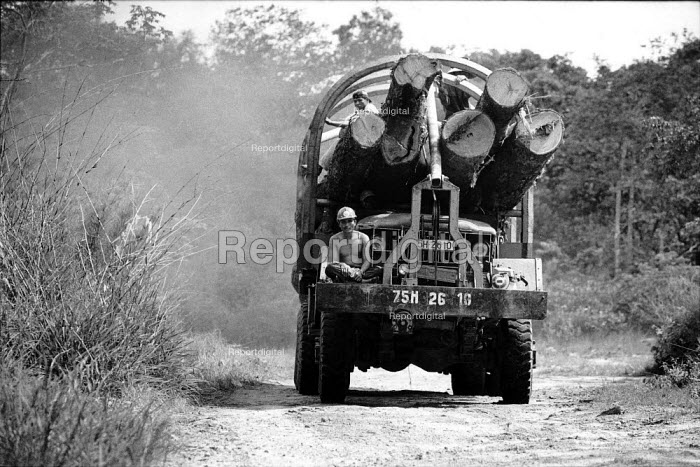 Logging truck with newly felled timber leaving forest Laos 1998 - Jim Holmes - 1998-07-03