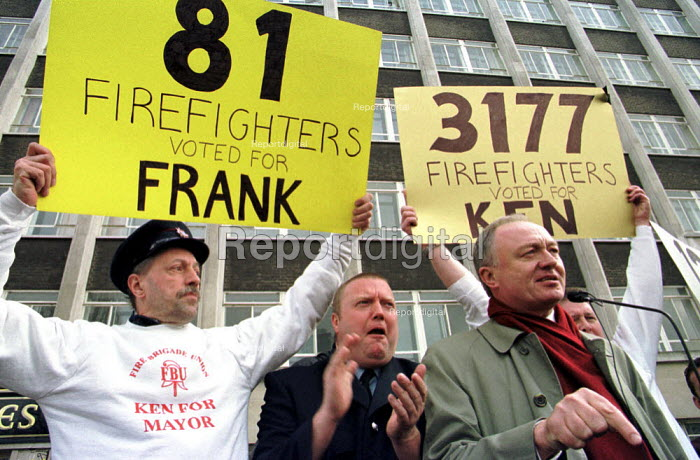Ken Livingstone MP on a firefighters rally London speaking in support of the 'Homerton 11' FBU members disciplined for standing up for trades union principles - Jess Hurd - 2000-03-10