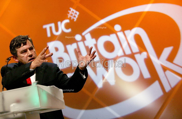 Gordon Brown MP speaking at the TUC Congress 2003. - Jess Hurd - 2003-09-09