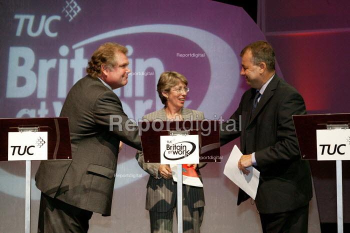 Digby Jones CBI, Patricia Hewitt MP and Brendan Barber finish a debate at the TUC Congress 2003. - Jess Hurd - 2003-09-09