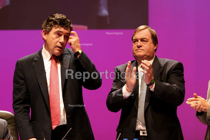 Gordon Brown and John Prescott Labour Party Conference 2003. - Jess Hurd - 2003-09-28