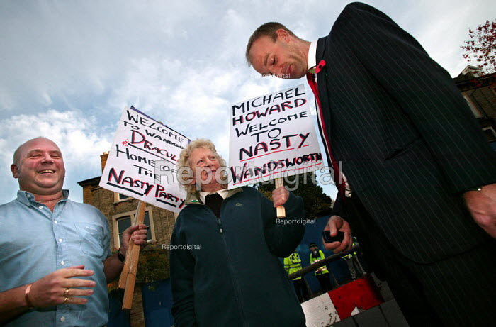Tory tackles UNISON protest over London Weighting in Wandsworth where Michael Howard MP is crowned the new leader of the Conservative Party. - Jess Hurd - 2003-11-06