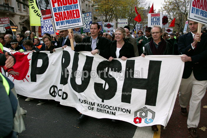 Ken Loach and Louise Christian join anti war protesters. Stop the War Coalition demonstration against the State visit of US President George Bush to the UK. London. - Jess Hurd - 2003-11-20