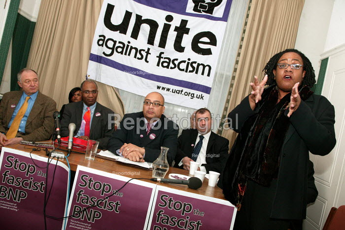 Diane Abbott MP addresses a press conference for the launch of Unite Against Fascism a coalition to stop the electoral advance of the BNP. London. - Jess Hurd - 2004-02-03