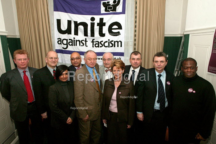John Cryer MP, Glyn Ford MP, actress Bindya Solanki, Lee Jasper, Ken Livingstone, Henry Guterman Holocaust Survivor, Louise Ellman MP, Brendan Barber, Dave Prentis UNISON and Weyman Bennett ANL at a press conference launching Unite Against Fascism a coalition to stop the electoral advance of the BNP. London. - Jess Hurd - 2004-02-03