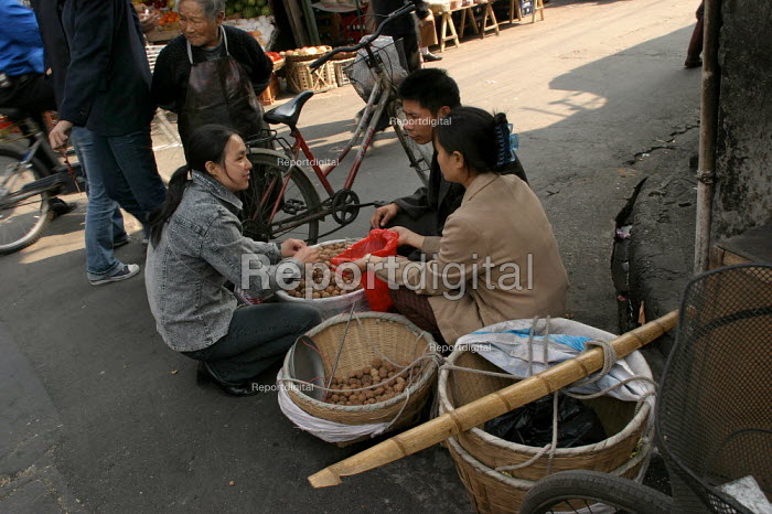 Young Chinese street vendor sells walnuts in the Old Town Ghost Market, Shanghai, China. - Jess Hurd - 2003-10-26