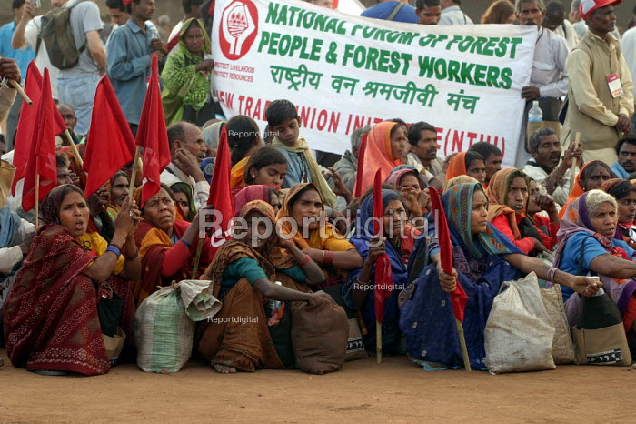 Indian women from the Forest Workers Trade Union. World Social Forum, Mumbai, India. - Jess Hurd - 2004-01-23