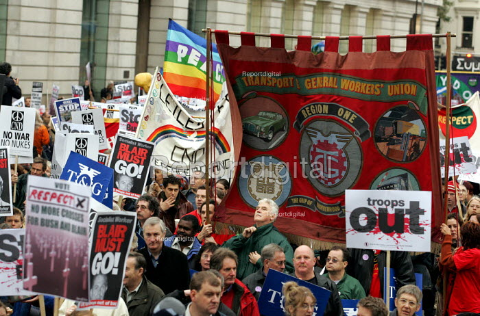TGWU trade union banner on the Anti war demonstration at the end of the European Social Forum held at Alexandra Palace. London. - Jess Hurd - 2004-10-17