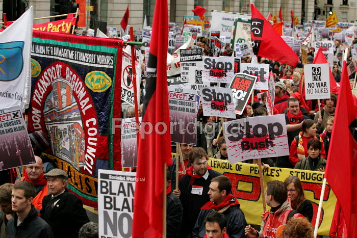 RMT trade union banner on the Anti war demonstration at the end of the European Social Forum held at Alexandra Palace. Central London. - Jess Hurd - 2004-10-17