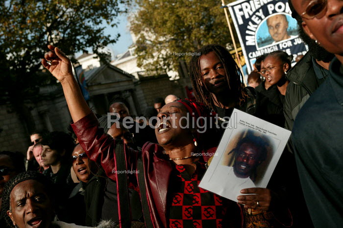 The relatives of Kebba Jobe who died in Kentish Town Police Custody. United Families and Friends Campaign march to Downing Street. London. - Jess Hurd - 2004-10-30