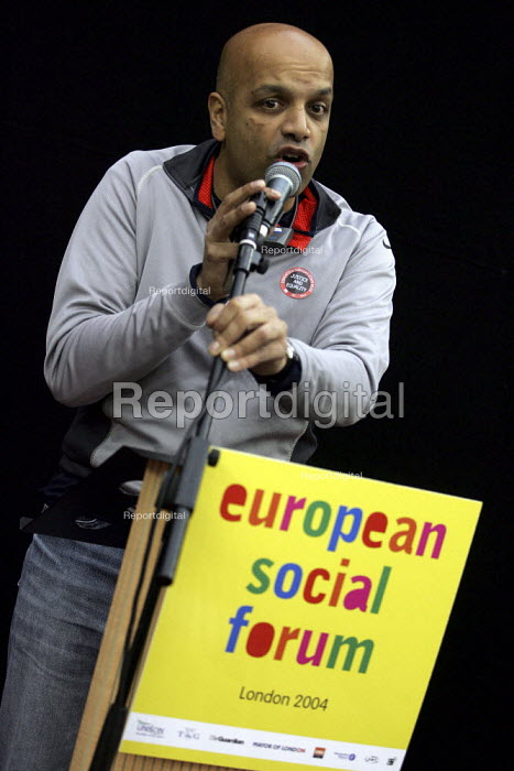 Rahul Patel Westminster Unison speaks at a migrant workers seminar at the European Social Forum, Alexandra Palace. - Jess Hurd - 2004-10-15