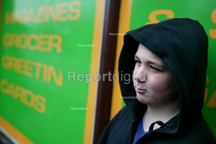 A boy from Lower Broughton. Youth feel they are being stopped unfairly in the street by the police when they are wearing a hood. City of Salford. - Jess Hurd - 2004-11-08
