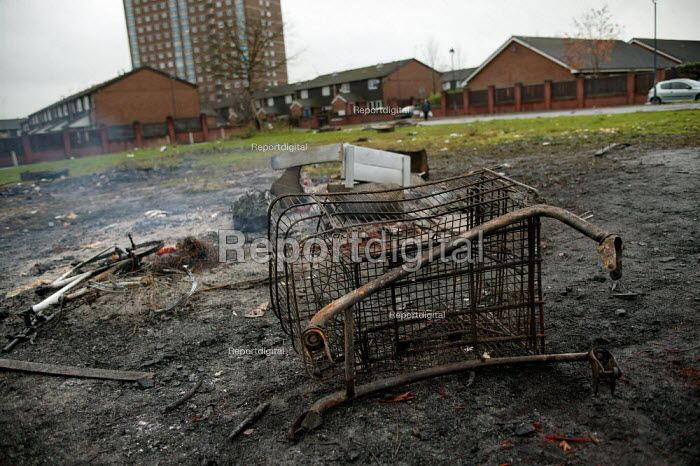 Remains of a smouldering urban fire on a housing estate in the City of Salford. - Jess Hurd - 2004-11-08