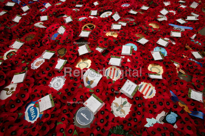 Wreaths of Remembrance laid at the Cenotaph for Remembrance Sunday. Whitehall, London. - Jess Hurd - 2004-11-17