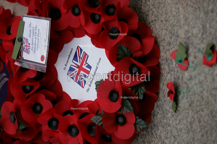 Wreath of Remembrance laid by the National Front at the Cenotaph for Remembrance Sunday. Whitehall, London. - Jess Hurd - 2004-11-17