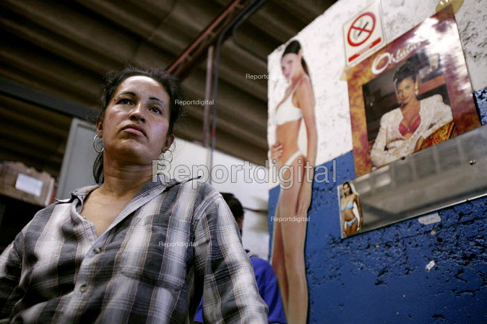 Carmen Fuentes. Workers at Selfex Textile Factory occupy the building demanding co-management. The action by members of the Unete trade union is supported by the government of President Hugo Chavez. Caracas, Bolivarian Republic of Venezuela. - Jess Hurd - 2006-01-19