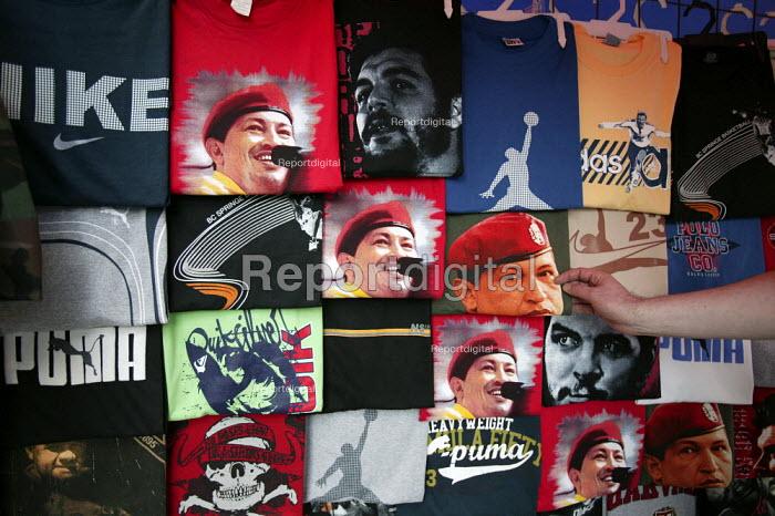 T-shirts with the image of President Hugo Chavez in Caracas, Bolivarian Republic of Venezuela. - Jess Hurd - 2006-01-21