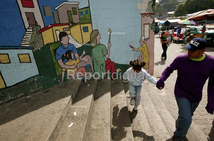 Pro Chavez mission mural in Caracas, Bolivarian Republic of Venezuela. - Jess Hurd - 2006-01-21