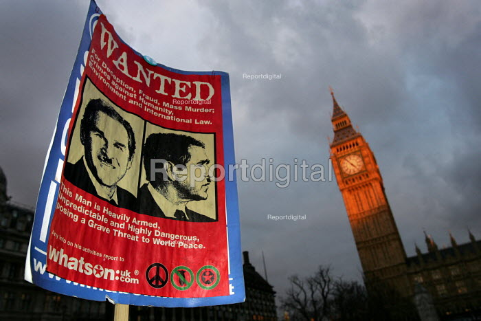 """Wanted poster at a Stop the War demonstration calling for an end to the occupation of Iraq. Mass """"Die-In"""" in Parliament Square,Supported by CND, MAB and the National Union of Students. London. - Jess Hurd - 2005-02-15"""