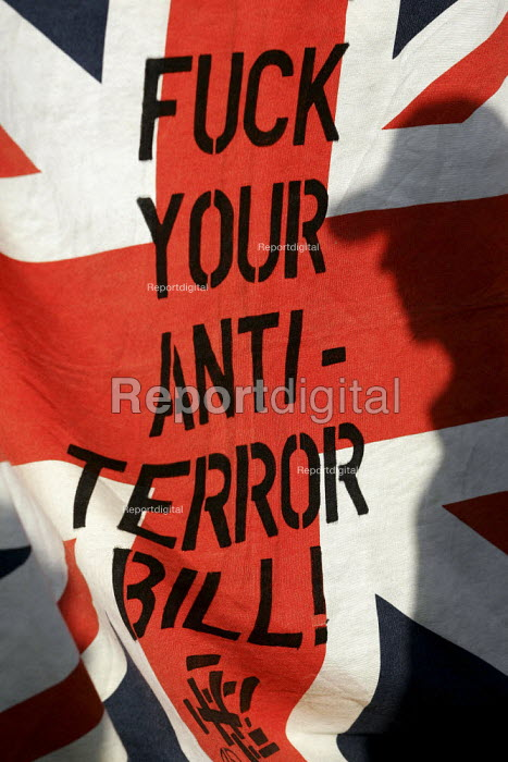 Banner stating opposition to the Terrorism legislation. Stop the War Coalition Bring the troops Home demonstration calling for an end to the occupation of Iraq. Supported by CND and MAB. London. - Jess Hurd - 2005-03-19