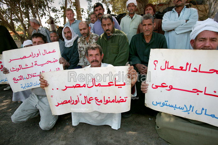 52 Workers at the Egyptian-Spanish Asbestos Product Company Ora Misr occupy their factory after being dismissed during a dispute over wages and compensation for occupational deseases. 8 workers have already died after 20 years exposure to asbestos dust with poor health and safety provision. They also can for a ban of imports and manufacturing of asbestos encouraging asbestos factories to use alternative products. 10th of Ramadan city, Egypt. - Jess Hurd - 2005-03-25