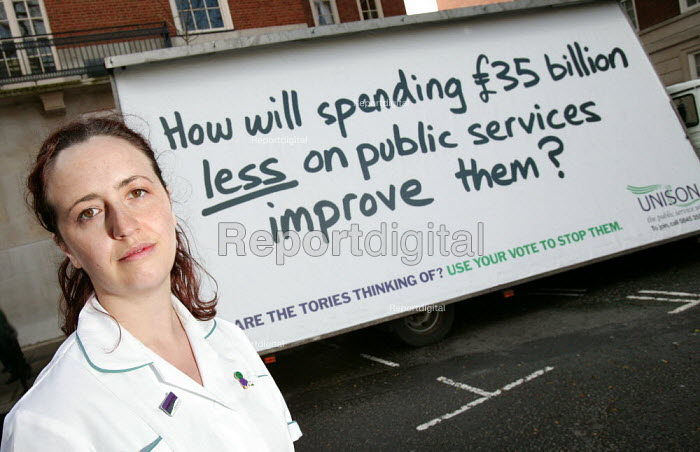 Unison unveils a pastiche of the Conservative party's 'Are you thinking what we're thinking?' posters. London. How will spending �35 billion less on public services improve them? - Jess Hurd - 2005-04-18