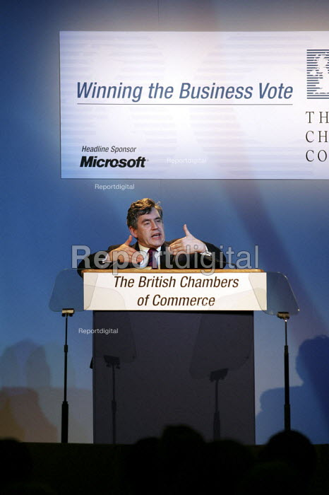 Gordon Brown MP speaking at the British Chambers of Commerce annual conference at the Queen Elizabeth II Conference Centre, Westminster, London - Jess Hurd - 2005-04-25