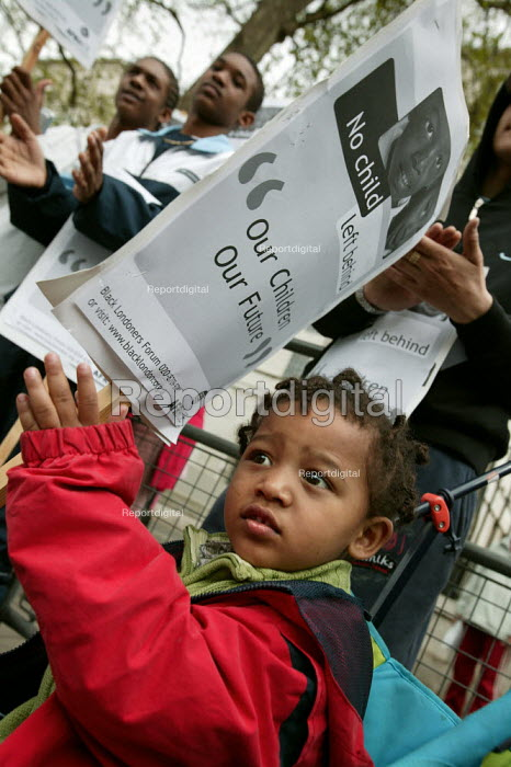 No Child Left Behind, Black Londoners Forum demonstration about inequalities that exists in school and the education system. Downing Street. London - Jess Hurd - 2005-04-30