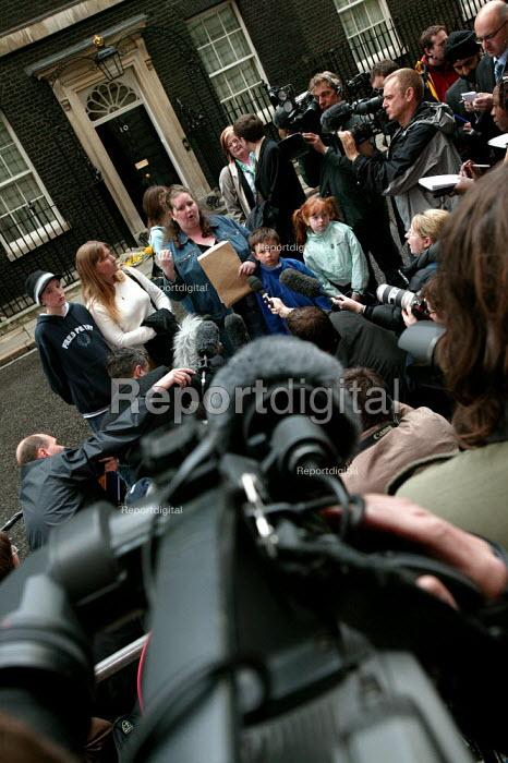 Gemma Cartwright gives an interview to the press as Longbridge women and their families at Downing Street protest against thousands of proposed job loses at MG Rover - Jess Hurd - 2005-04-13