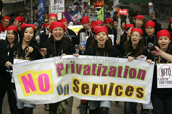 Hong Kong University students join the demonstrations on the opening day of the WTO Ministerial Meeting in Hong Kong. - Jess Hurd - 2005-12-13