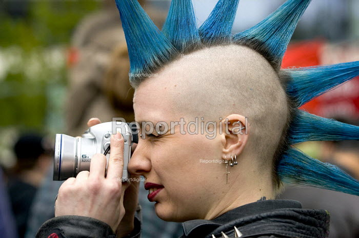 Punk with a camera. International Workers Day May Day march, London. - Jess Hurd - 2006-05-01