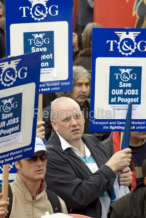 TGWU Peugeot workers from the Ryton factory in Coventry campaign to save their jobs. International Workers Day May Day march, London. - Jess Hurd - 2006-05-01