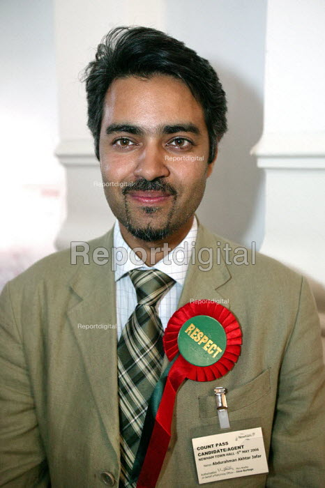 Abdurahman Akhtar Jafar Respect candidate for Mayor of Newham coming second to Robin Wales of the Labour Party. East London. - Jess Hurd - 2006-05-05