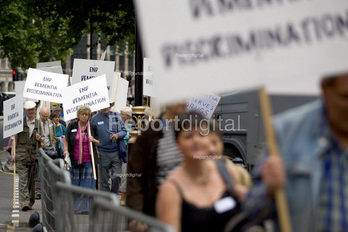The Alzheimers Society dementia national day of action to protest against the Nice decision to restrict access to NHS dementia drugs. The drugs cost �2.50 per day per person. Westminster, London. - Jess Hurd - 2006-06-27