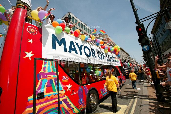 Mayor of London float moves down Oxford Street on the EuroPride Parade, London. - Jess Hurd - 2006-07-01