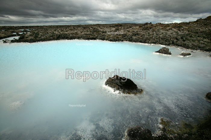 The Blue Lagoon a natural geothermal seawater spa, created by the outlet water from the power station in Svartsengi. Iceland. When all practical extraction of the heat has occurred by heat exchange, the brine is let out into the surrounding lava field at 70 C - Jess Hurd - 2006-07-26