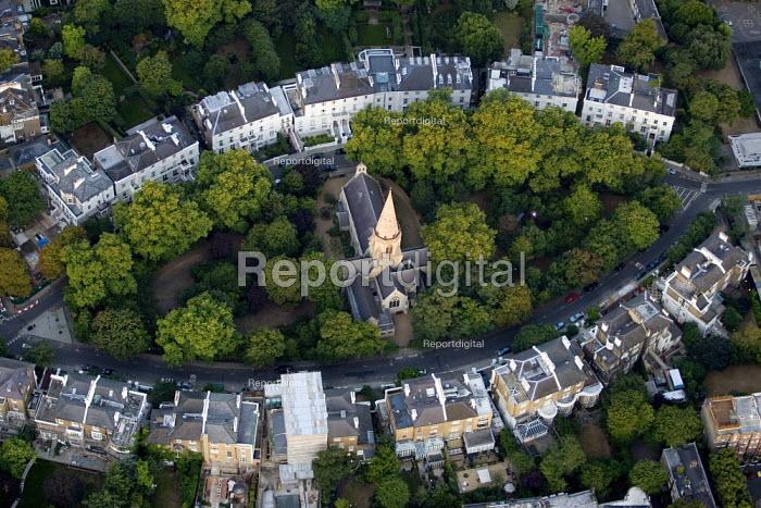 Chelsea residential housing surrounding a church. Views from a hot air balloon flight over London. - Jess Hurd - 2006-08-08